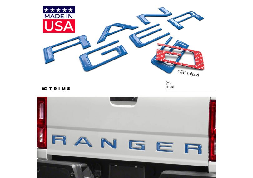 3D Raised /& Strong Adhesive Decals Letters Tailgate Emblems Inserts Letters Gloss Black Tailgate Inserts Letters for Ford Ranger 2019 2020