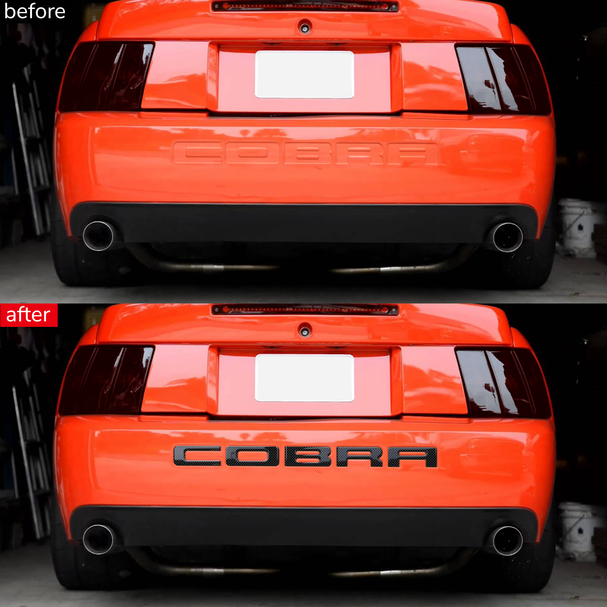 White BDTrims Bumper Plastic Letters Inserts fits 1994-1998 Mustang GT Models